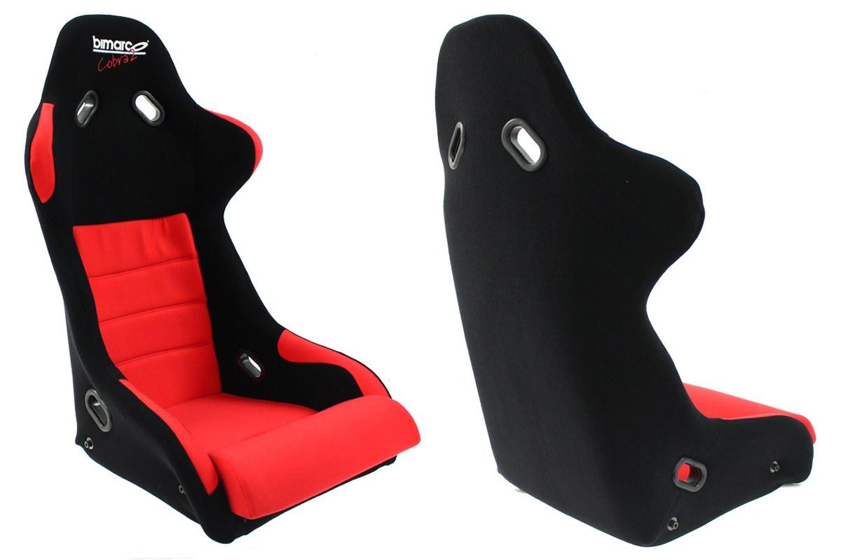 Fotel Sportowy Bimarco Cobra II Welur Black/Red - GRUBYGARAGE - Sklep Tuningowy